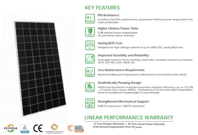 Jinko Solar Panel 390 watt mono solar panel 72 Cell pv module solar panel.